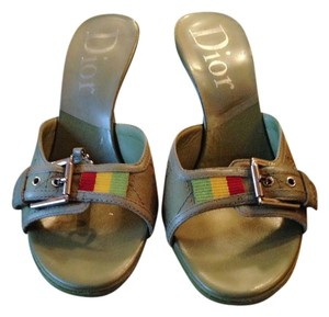 Dior Barely Used Olive Green Mules