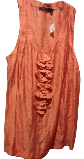 Item - Peach Sleeveless Front Ruffle Blouse. Halter Top Size 12 (L)