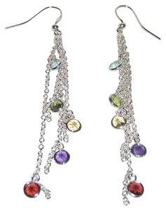 Other 2.58ct Multigemstone Sterling Silver Bezel-Set Drop Earrings