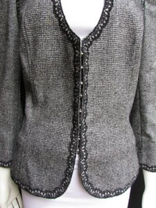 Andrew Gn Check Lace Deep V Gray Jacket