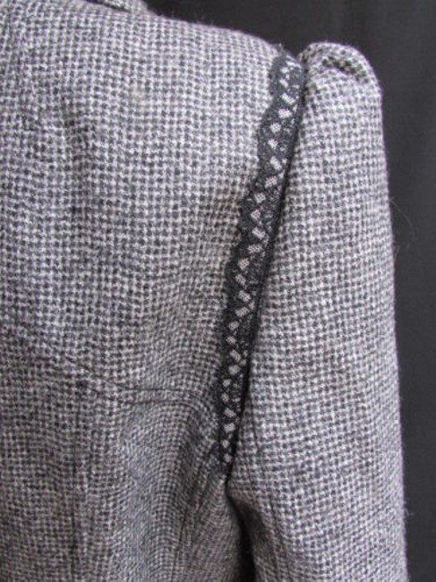 Andrew Gn Check Lace Deep V Gray Jacket Image 10