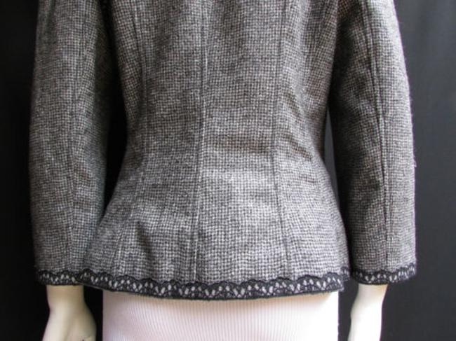 Andrew Gn Check Lace Deep V Gray Jacket Image 11