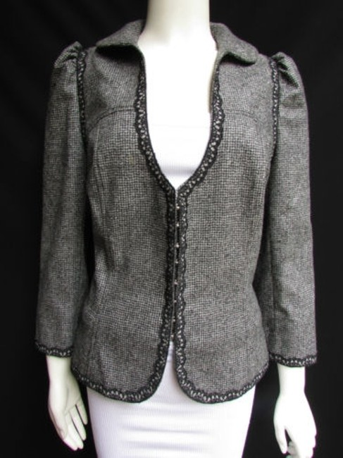 Andrew Gn Check Lace Deep V Gray Jacket Image 2