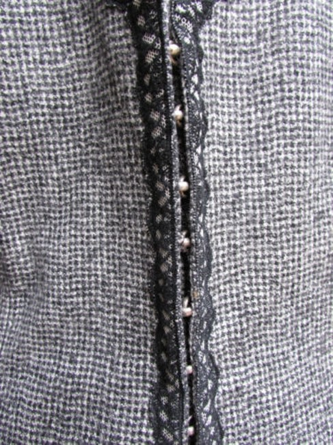 Andrew Gn Check Lace Deep V Gray Jacket Image 3