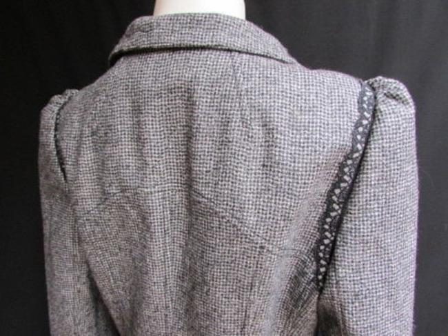 Andrew Gn Check Lace Deep V Gray Jacket Image 5