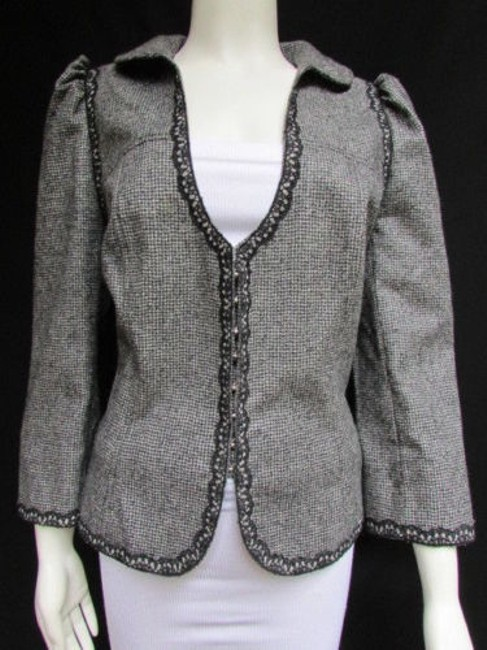 Andrew Gn Check Lace Deep V Gray Jacket Image 6