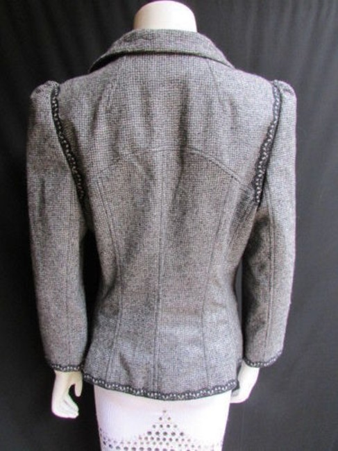 Andrew Gn Check Lace Deep V Gray Jacket Image 8