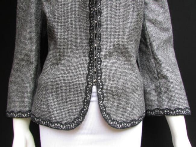 Andrew Gn Check Lace Deep V Gray Jacket Image 9
