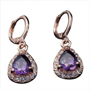 other Purple Zircon Teardrops on Gold Filled Dangle Earrings