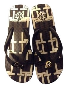 Tory Burch Summer Wear Trendy Stylish Flip Flops Black/brown/white Sandals