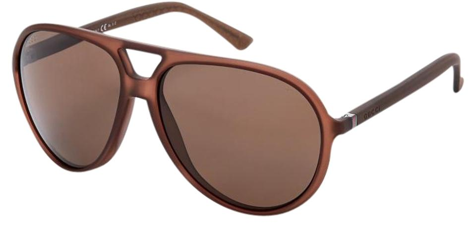 ef27a94bd87 Gucci NEW Gucci GG 1090 S Matte Brown Polarized Oversized Aviator Sunglasses  Image 0 ...