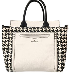 Kate Spade Houndstooth Straw Tote in Black & White