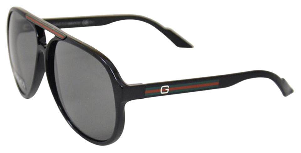 1cb68edfdbe Gucci NEW Gucci 1627 S Aviator Sunglasses Shiny Black Logo Aviator Stripes  Image 0 ...