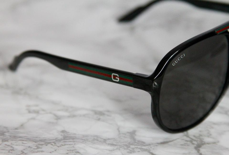 ce2ec1634b2 Gucci NEW Gucci 1627 S Aviator Sunglasses Shiny Black Logo Aviator Stripes  Image 5. 123456