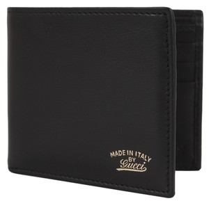 Gucci NEW Gucci Men's Black Calf Leather Script Logo Bifold Wallet