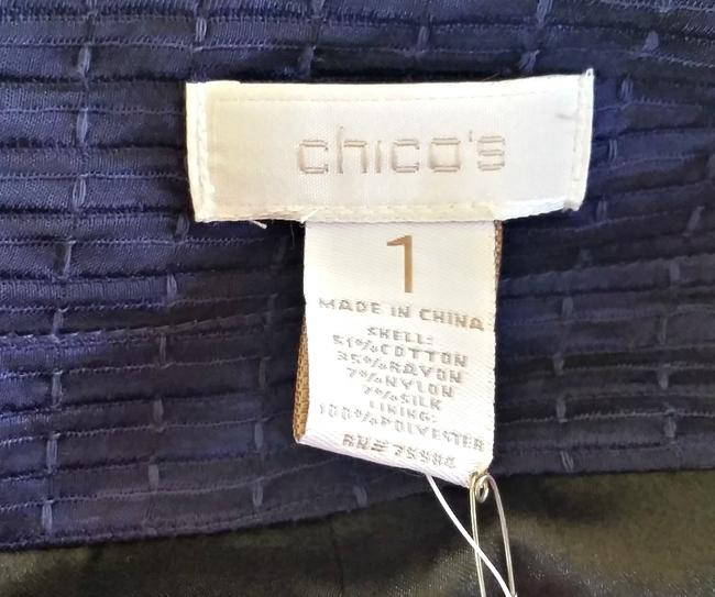 Chico's Mandy Textured Cropped 3/4 Sleeves Blue Blazer Image 3
