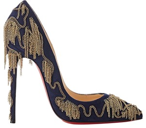 Christian Louboutin Dolly Party Dolly Party 120 Stiletto Midnight Blue with dark gold chains Pumps