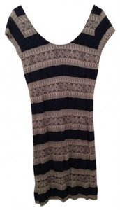 Eight Sixty short dress Navy/Beige Lace Stripes on Tradesy