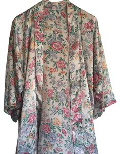 Vintage Silk Floral Robe One Size Cardigan