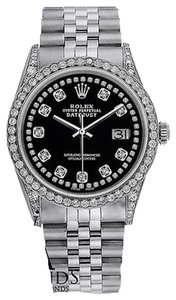 Rolex Diamond Watch - Datejust 36mm- Black Dial- Jubilee Bracelet- 4ct Diamo