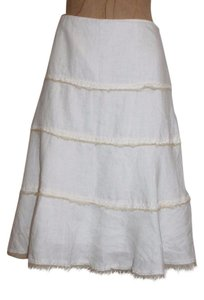 Tahari A-line Linen Summer Skirt WHITE