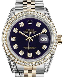Rolex Stainless Steel And Gold Mm Datejust Watch Purple Diamond Dial