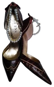Guess By Marciano Pearls Croc Texture Brown Pumps