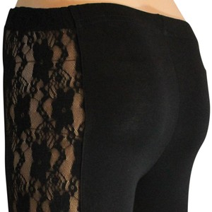 Other Lace Floral Legging Capris Black