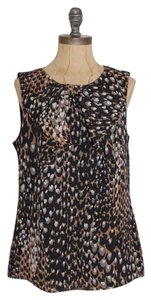 Trina Turk Bow Accent Animal Print Silk Silk Top