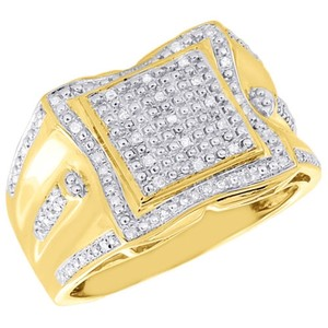 Jewelry For Less .925 Sterling Silver Mens Natural Diamond Pinky Ring 0.22 Ct.