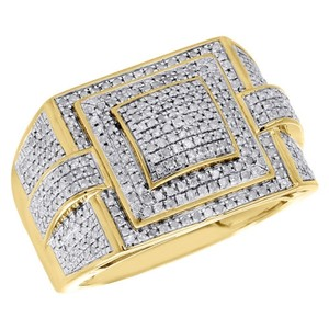 Jewelry For Less Mens Round Pave Diamond Pinky Ring Domed 925 Sterling Silver Yellow Finish 1 Ct.