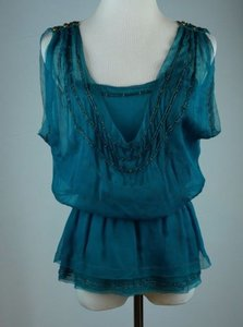 Diane von Furstenberg Beaded Silk Dark Teal Top Blue