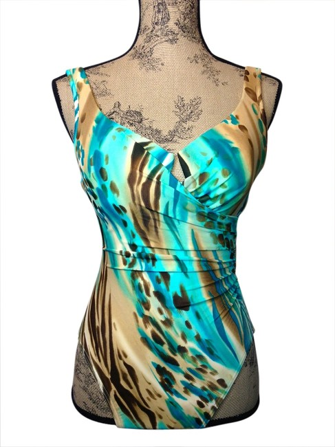 Item - Aqua Turquoise Khaki Brown Cream Swimsuit--slimming with Built In Underwire Bra--gorgeous Colors One-piece Bathing Suit Size 10 (M)