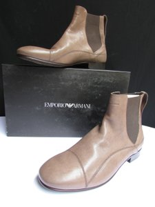 Emporio Armani New Men Taupe Marrone Leather Classic Dressy Fashion Work Attire 40/6.5 Taupe Men Men Fashion Men Accessory Short Beige Boots