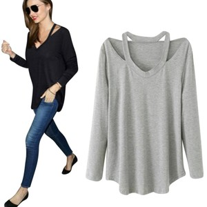 Open Shoulder Shoulder Solid T Shirt Gray
