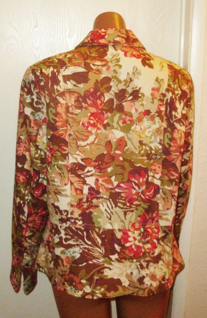 Coldwater Creek Cropped Fitted Cotton Brown & Red Blazer