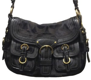 Coach Tote in Black/ Grey W/ Eggplant Interior.