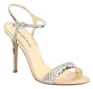 Alexandre Birman Python, Black, Nude Sandals