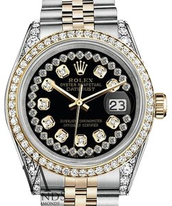 Rolex Stainless Steel-gold 36Mm Datejust Watch Glossy Black String Diamond