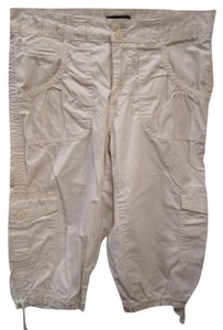 a.n.a. a new approach Off White Tan Cargo 8 Flap Pocket Capris Ivory