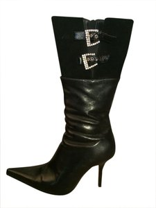 Gotti Leather Fur Lined Rhinestone Buckles Black Boots