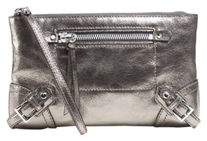 Michael Kors Mk Fallon Zip Silver Hardware Nickel Clutch