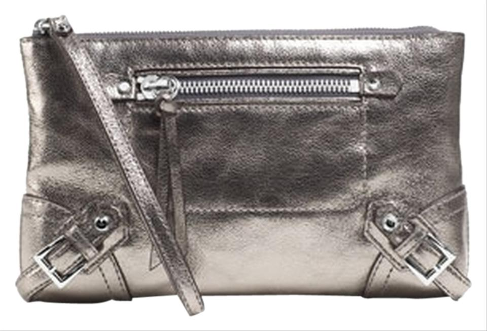 91fc832ae585 Michael Kors Fallon Large In Nickel Leather Clutch - Tradesy