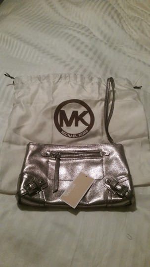 Michael Kors Mk Fallon Zip Silver Hardware Nickel Clutch Image 2