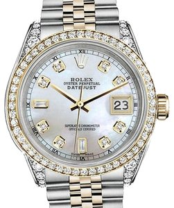 Rolex Stainless Steel - Gold 36Mm Datejust Watch White Mop 82 Diamond Dial