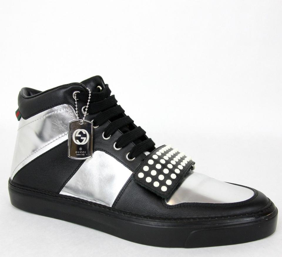 37896b3a7d2 Gucci Silver Black Men s High-top Sneaker Limited Edition 376194 1064 Size  13 G ...