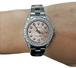 Rolex Ladies Diamond Oyster Band Salmon Pink Diamond Dial 26mm Automatic