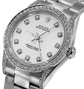 Rolex Ladies Diamond Oyster 67480 Midsize 31mm White Mother Of Pearl Dial Watch