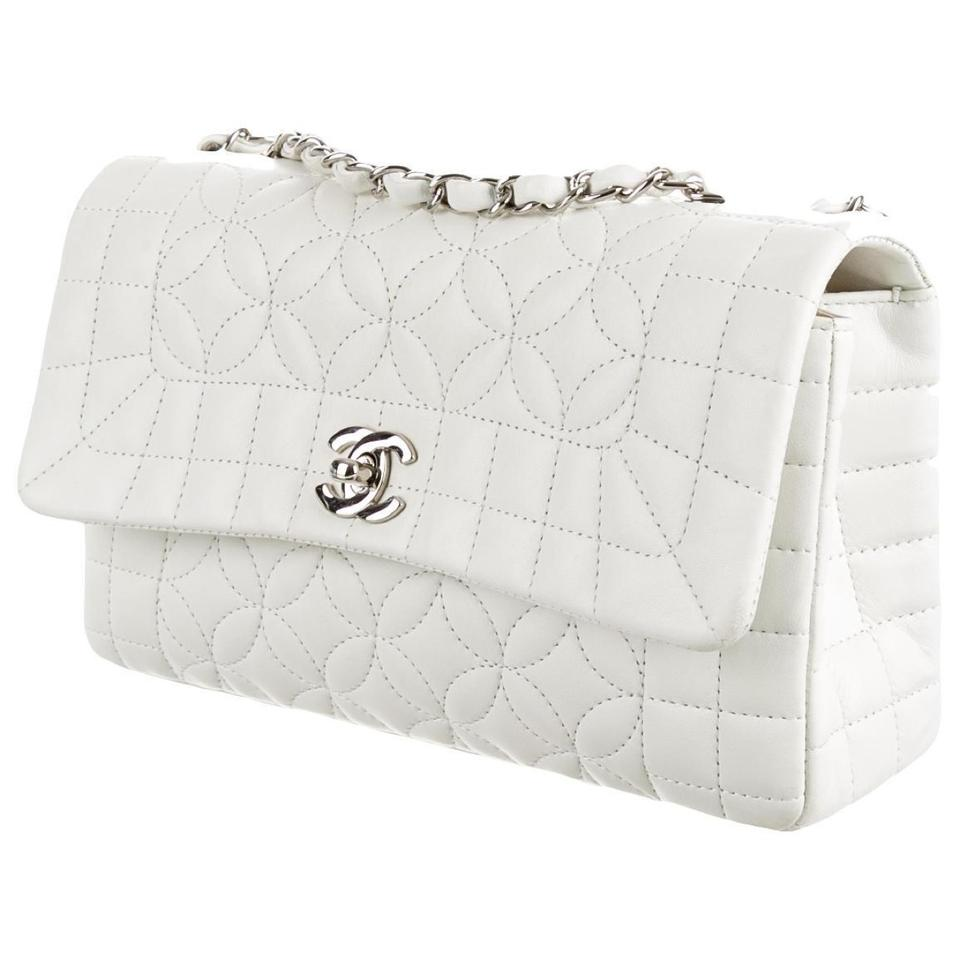 Chanel White Ivory Cream Lambskin Leather Lady Graphic ...