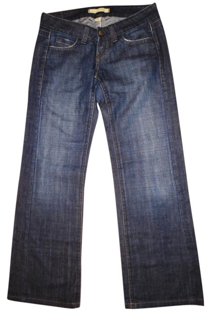 Item - Dark Blue Rinse Faded Distressed Stretch Trouser/Wide Leg Jeans Size 28 (4, S)